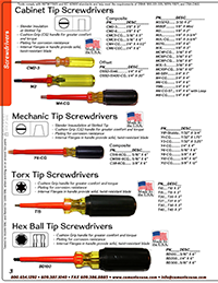 Catalog Screwdrivers and Nut Drivers